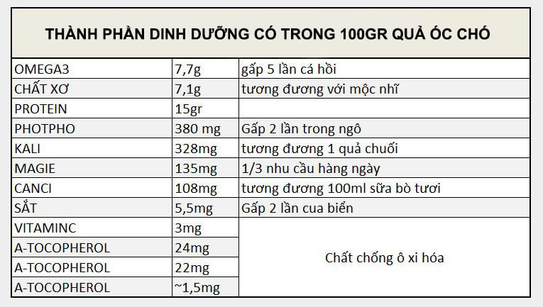 thanh phan dinh duong hat oc cho